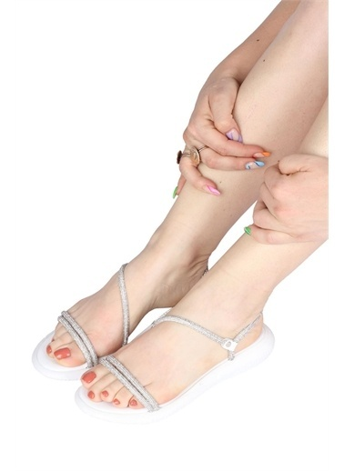 Modabuymus Modabuymus   Taşlı Asimetrik Bantlı Kalın n Sandalet - Glare Gümüş
